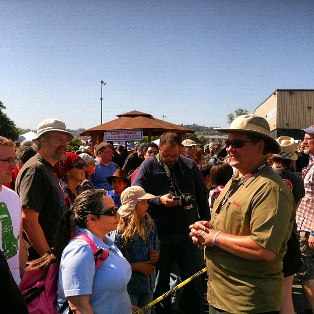 MAKE CEO Dale Dougherty greets fairgoers just before the gates opened.
