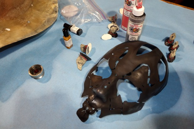 The mask gives guidelines for where to paint.