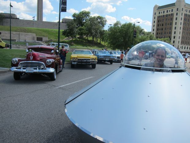 Pat Slimmer's UFO cruised the vast lineup presented by KC's Realistic Impressions Car Club.