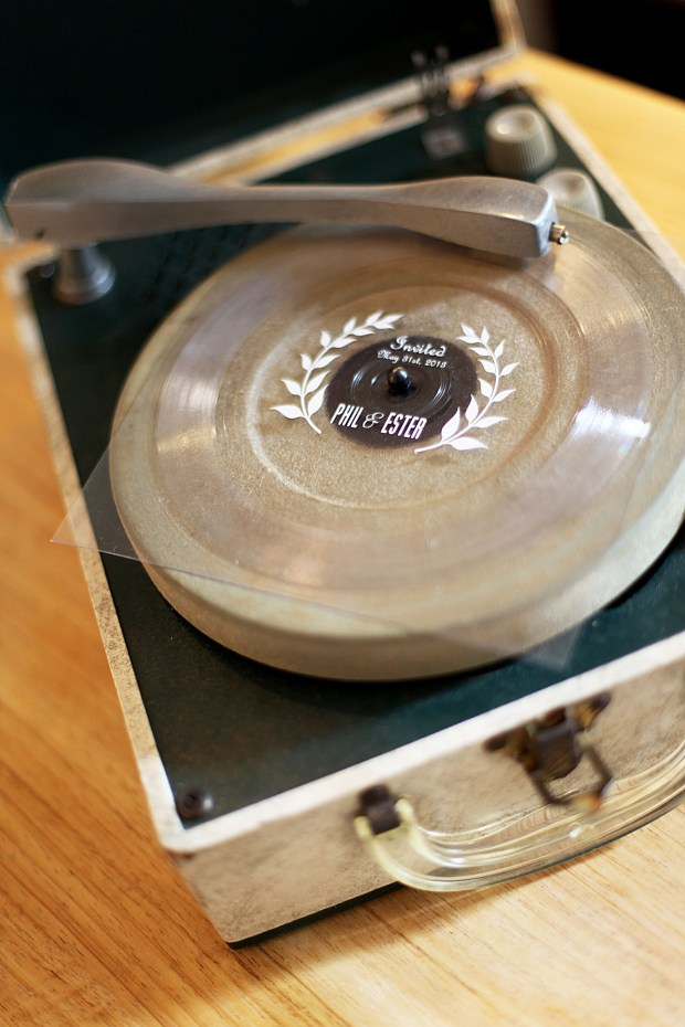 "Vinyl ""flexi"" record wedding invitation."
