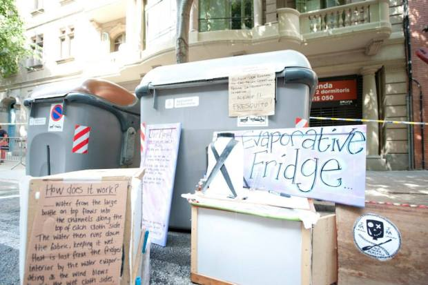 The Junk Armada also built an evaporative fridge to keep their food cool while they are sailing down the river.