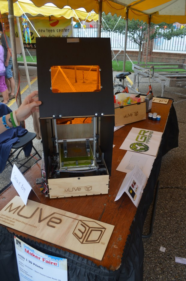 mUVe is a 3D printer that uses resin not the more standard printing material ABS or PLA.