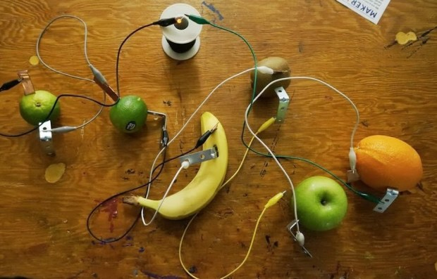 Fruit-powered LED by  MakerKids