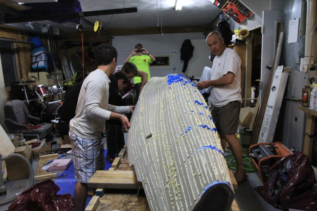 Working on the core of the hull.