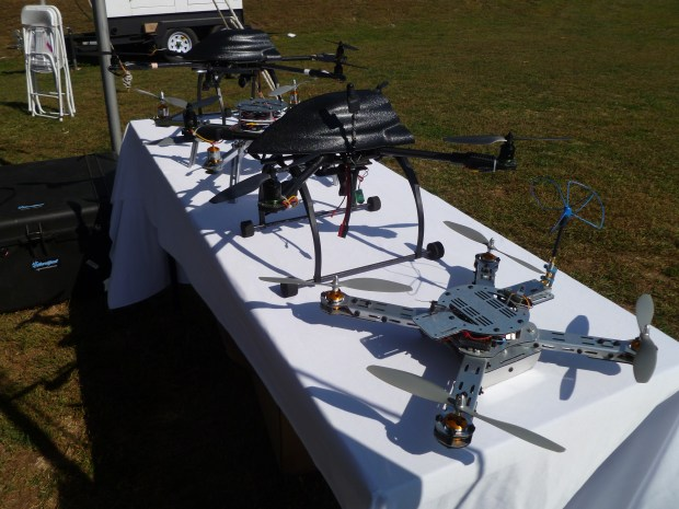 Ted Carancho from AeroQuad displays his copters. I can't wait to see them in the air this weekend.
