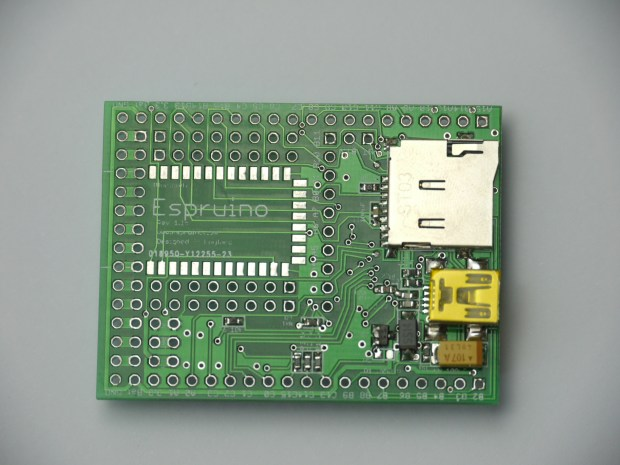 The bottom of the Espruino board showing the micro-SD card and mini-USB connectors.