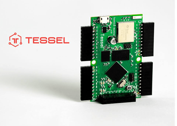 The Tessel microcontroller board, with its ARM Cortex M3 CPU (bottom) and TI CC3000 WiFi radio (top)