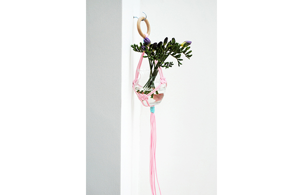 Simple macrame hanging vase