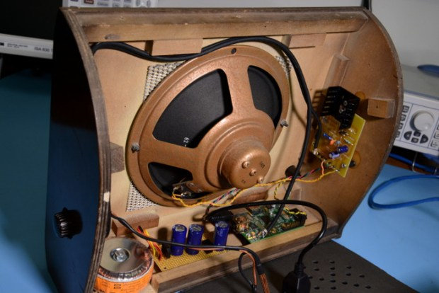 The insides of the radio with the Raspberry Pi.