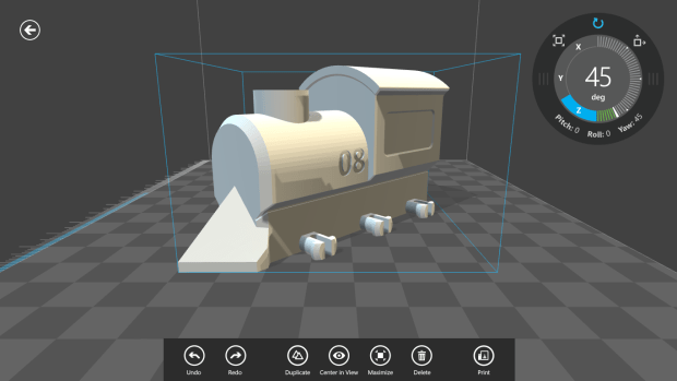 Train model being oriented on the build platform in 3D Builder