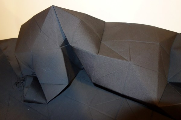 """Origami Fabrics"" by Anne-Marie Lavigne were incredibly rigid, inspired by origami folds."