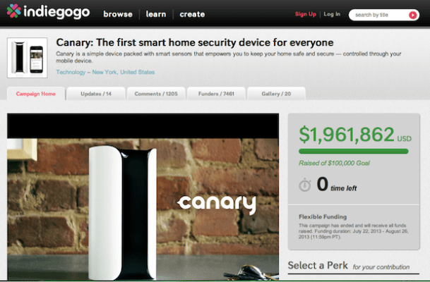 Canary, a home security device, raised almost $2 million on Indiegogo last summer, one of many hardware start-ups that found crowdfunding success in 2013.  Hardware projects even got their own hardware-specific crowdfunding site: Dragon Innovation.  Indiegogo also reached out to the maker crowd, hosting a workshop for hardware startups, publishing a handbook for hardware campaigns, and hiring a hardware liason.