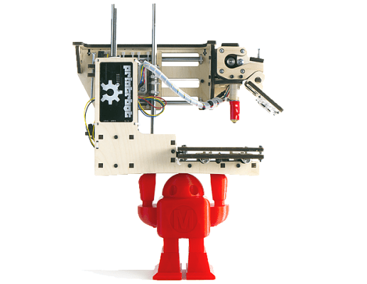 "It's easy to fall in love with the Printrbot Simple, crowned ""Best Value"" in our testing this year.  The Simple gets you started in the world of 3D printing, without spending a bundle.  This printer has a small footprint and can printing up to a 4"" cube using PLA filament (1.75mm.) Available in both kit form and assembled form for those that just want to get printing. Check out our PrintrBot Simple review for additional details."