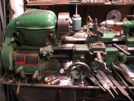 "An old South Bend lathe with a 9"" swing. I worked lathes identical to this for about 15 years in my distant past, sigh...."