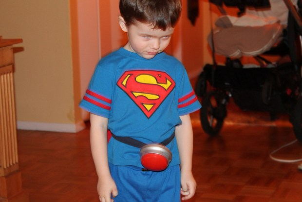 The first prototype was literally a Staples Easy Button velcro-ed to my nephew. Obviously, he loved it.