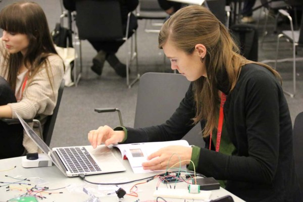"In the ""Hack Your House"" workshop, attendees controlled a home doorlock with an Arduino, an RFID reader and a servo motor."