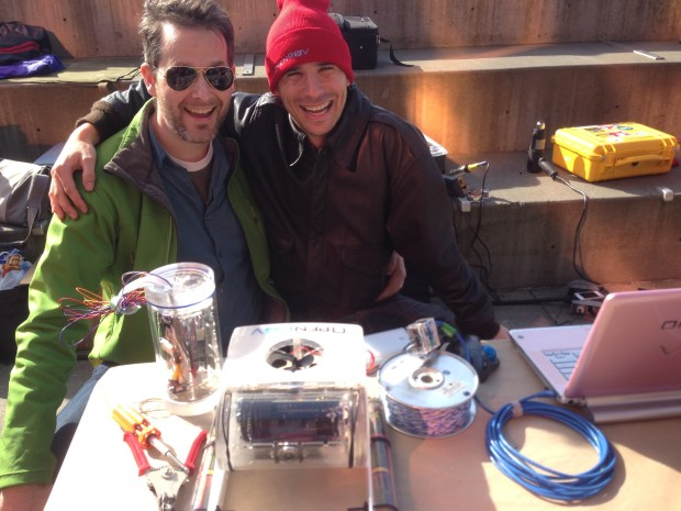 Darcy Paulin, Vancouver OpenROV contributor, brought down his depth-test camera module (the vertical cylinder).  With Eric Stackpole, OpenROV co-founder. openrov.com