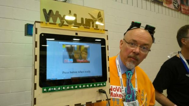 Kevin Osborn demonstrates the Wyolum photo booth.