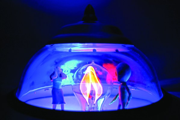 Detail shot of one of Jason Dietz' UFO Lamps.