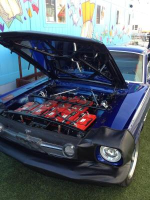 This electric Mustang featured batteries under the hood, and an LCD television in the trunk!