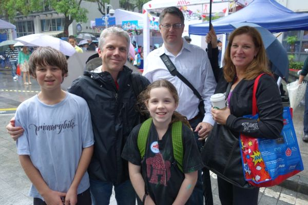 Brian Smith (second from left) is a teacher in Hong Kong.  He came with his family, including his daughter Mady, and some friends.