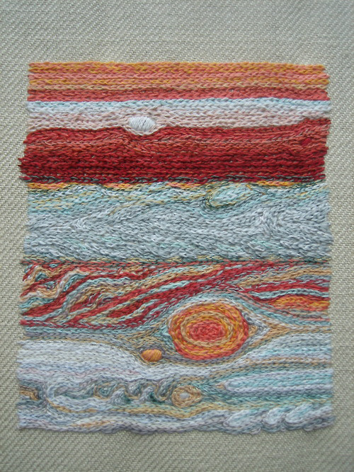 Pardalote used photos from NASA to embroider this image of  Jupiter.