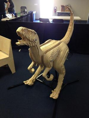This dino was cut on the ShopBot at SYN Shop, the Las Vegas Hackerspace.