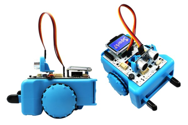 makershed.com  Arcbotics' Sparki is an inexpensive, feature-rich, Arduino-based platform that comes with a large program library, built-in bluetooth module, an array of onboard sensors, a motorized gripper, and a backpack display/readout module. It's capable of edge and obstacle avoidance, line following, maze navivation, object retrieval, light seeking/fleeing, and lots more.