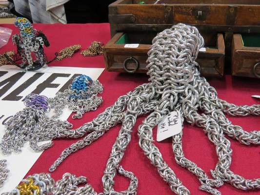 Caruso Kith Kin & Co. is a wonderful NJ family business of metalwork artisans. Their metal ring formed cephalopod army is really adorable. They also deal in coins and watches. http://www.kithkinco.com