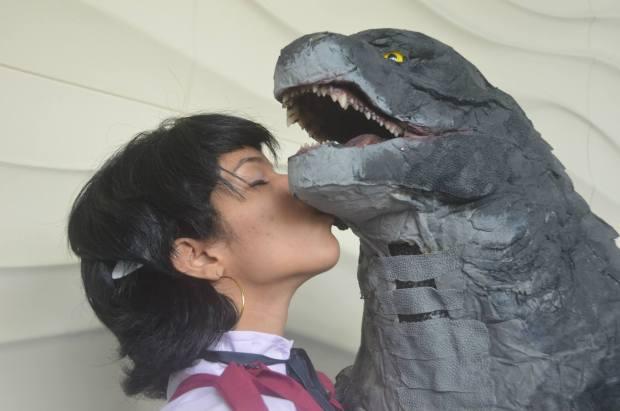 Godzilla with his admiring girlfriend