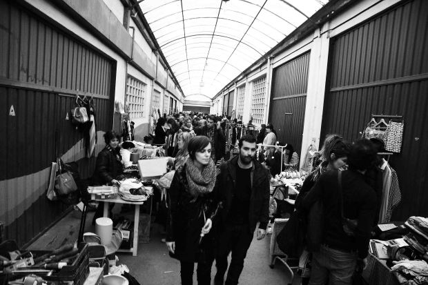 The monthly flea market in one of the Cookie Factory halls
