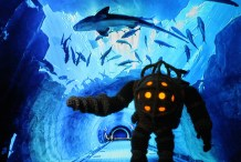 Crocheted Bioshock Big Daddy is Poseable, Illuminated, Adorable