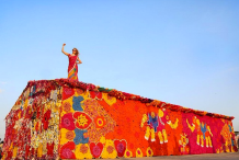 Night Shelter In India Covered In Crochet