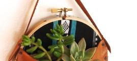 Living Art: Embroidery Hoop Hanging Plant Display