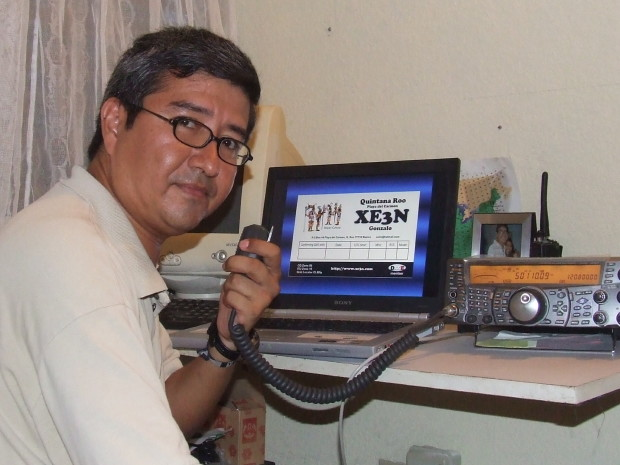 Gonzalo Jara, XE3N, used his HF/VHF transceiver (transmitter/receiver combo) and a simple wire delta loop antenna just 6 meters above the ground to make more than 350 contacts from the Mexican state of Quintana Roo. (Photo by Gonzalo Jara, XE3N, and provided courtesy of the ARRL)