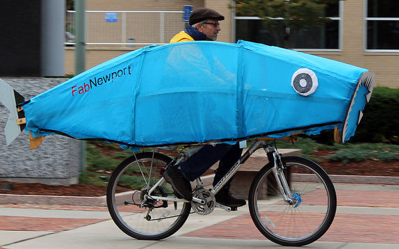 Steve Heath on the Fab Newport Fish Bike