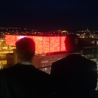Stand on a Skybar, and play pong on the LEDs on the Rockheim museum.