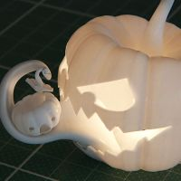 Sebastian Kerner's 3D printed Jack O' Lantern was designed using cinema4D and a whole lot of talent.