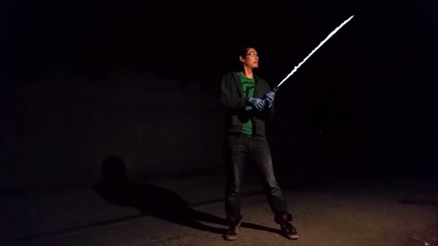 Pan testing his lightsaber. Image from Pan's Sufficiently Advanced YouTube channel.
