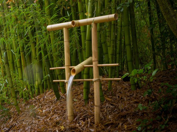 Growing inspiration and whimsy in your backyard make for Japanese bamboo water feature