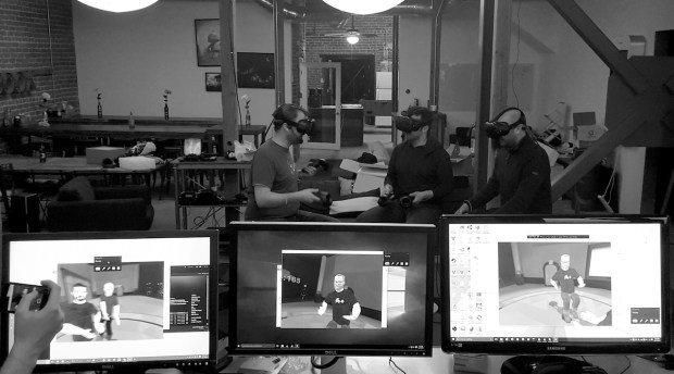 For The FOO Show's pilot, recording three participants together meant squeezing everyone, along with three gaming PCs and three Vives, into a tight 20'×20' space. Photo by Eric Florenzano
