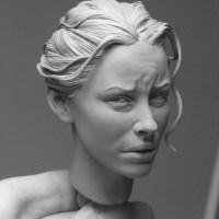 Evangeline Lilly sculpted by Adam Beane