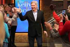 """Kelly Ripa and Michael Strahan talk with Harrison Ford during the production of """"LIVE with Kelly and Michael"""" in New York on Tuesday, Dec. 1, 2015. Photo: David M. Russell/Disney ABC Home Entertainment and Television Distribution ©2015 Disney ABC. All Rights Reserved."""