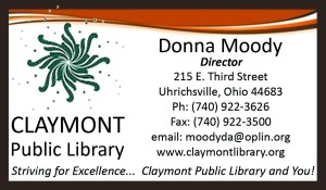 Claymont Public Library business card.