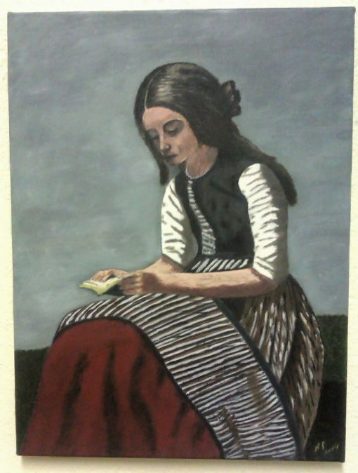"""Noreen Field. """"The Little Reader"""". Acrylic on Canvas."""