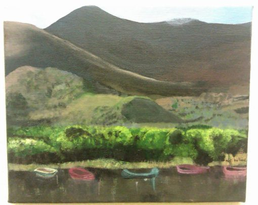 """Margaret Holland. """"View from Ross Castle, Killarney"""". Acrylic on Canvas."""