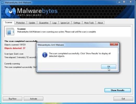 [Image: Malwarebytes Anti-Malware scan results]