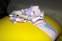 Bow made from left over wrapping paper