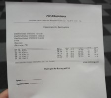 Results print out - Chad was 5 & James 19