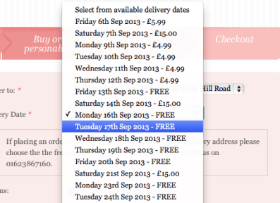 Variety of delivery dates